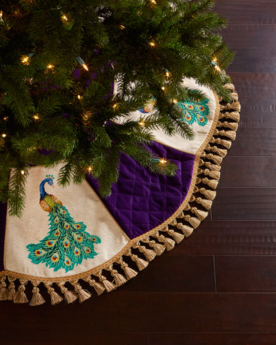 Peacock Needlepoint Christmas Tree Skirt