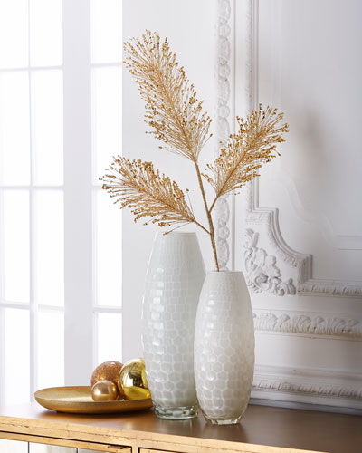 Golden Glittered Pine Needle Spray