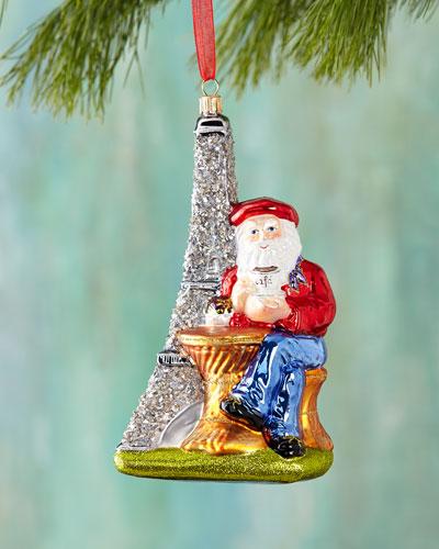 Santa with Eiffel Tower Christmas Ornament