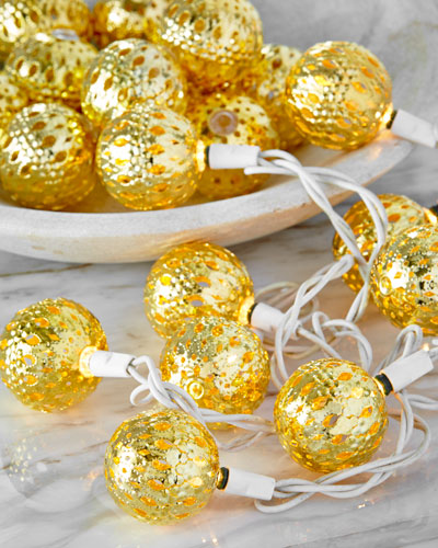 Gold-Tone Round Christmas Light Covers, Set of 20