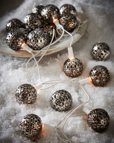 Silver-Tone Round Christmas Light Covers, Set of 20