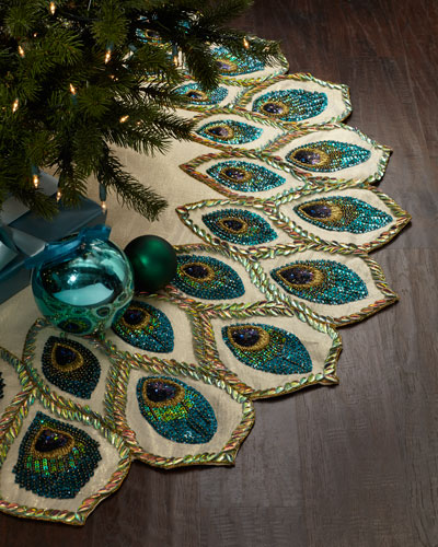 peacock christmas tree skirt - Peacock Themed Christmas Tree
