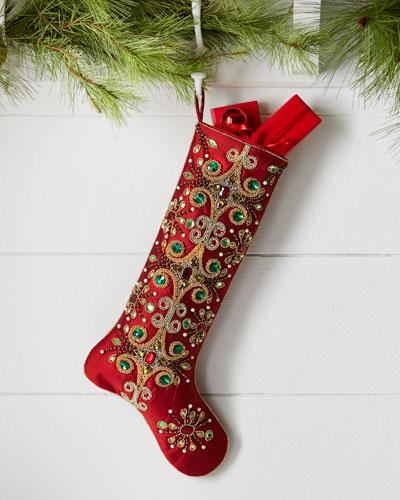 Jeweled Tiara Christmas Stocking