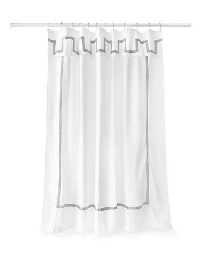 Santorini Gray and White Shower Curtain