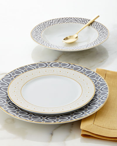 12-Piece Gray/Yellow Dinnerware Service