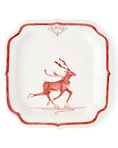 Country Estate Ruby Reindeer Games Dancer Party Plate