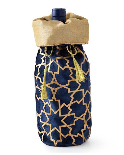 Sapphire & Gold Khari-Print Wine Bag