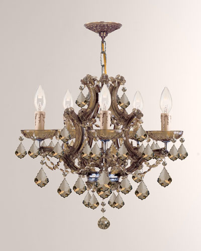 Maria Theresa 6-Light Golden Teak Crystal Brass Chandelier
