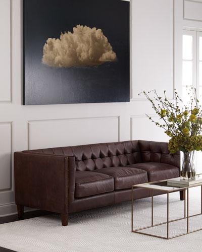 Nailhead Trim Leather Sofa