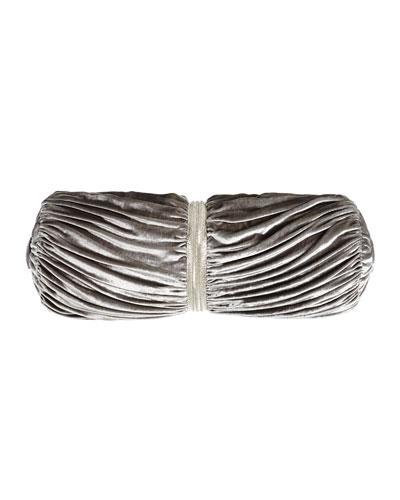 Platinum Posey Ruched Velvet Bolster Pillow