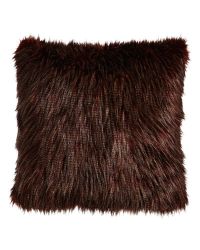 Wild Ostrich Faux-Fur Pillow