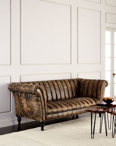 Quick Look. ProdSelect Checkbox. Safari Channel Tufted Leather Sofa