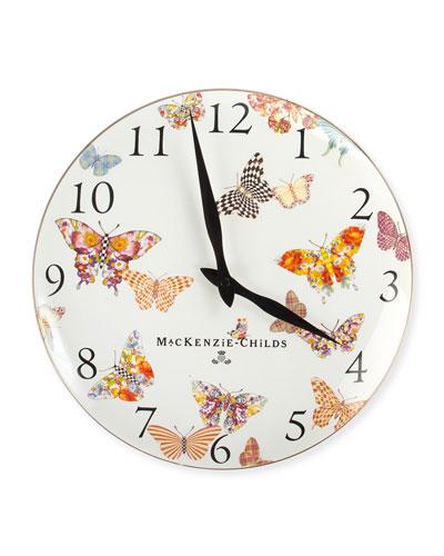 White Butterfly Garden Clock