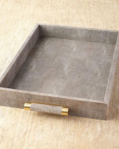 Chocolate Shagreen Rectangular Tray