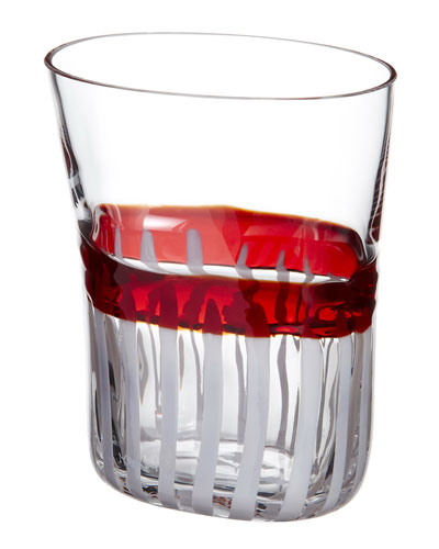 Bora Drinking Glass, Red/White