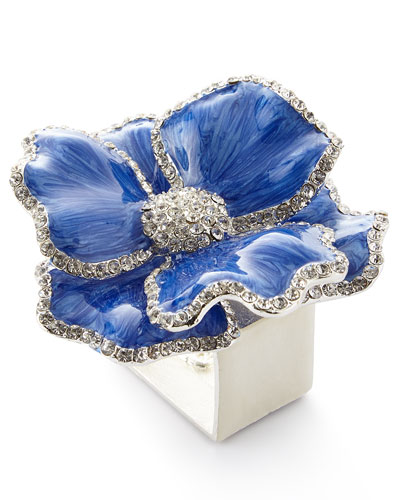 Floral Crystal Napkin Rings, Set of Four, Blue