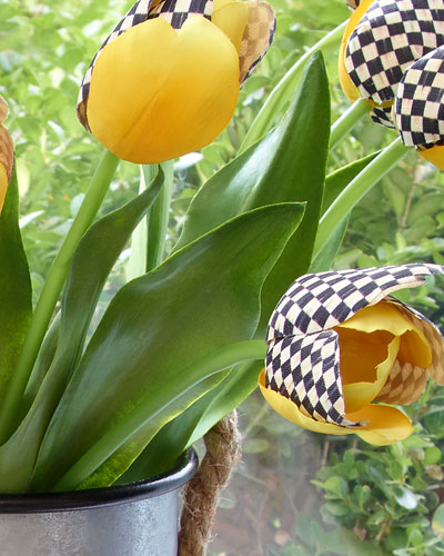 Courtly Check and Yellow Faux Tulip