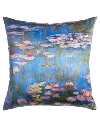 Monet Purple Water Lilies Pillow, 23