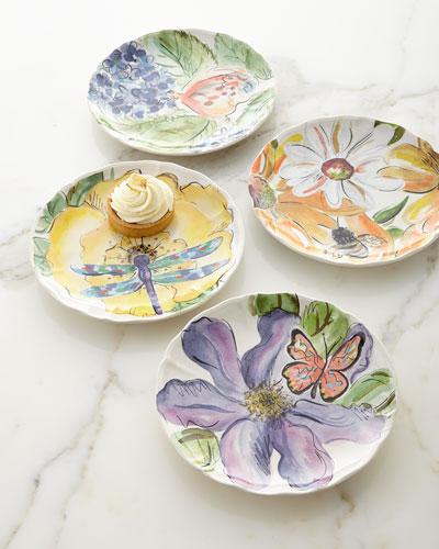 Set of 4 Assorted Bloomers Dessert Plates