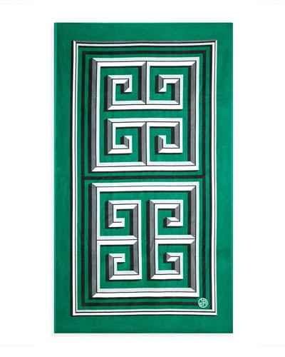 Greek Key Beach Towel, Green