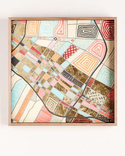Maps La Gilded Mixed-Media Painting