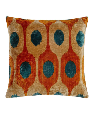 Orange Silk Velvet Pillow, 20
