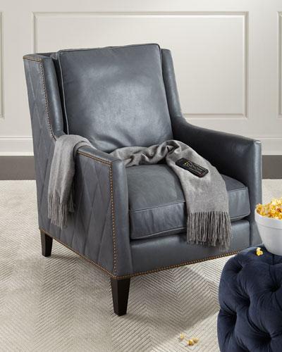 Beatrix Diamond-Tufted Leather Chair