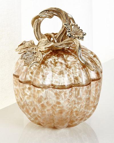 Small Gilded Glass Pumpkin Box