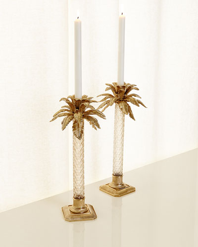 Palm Tree Gilded Glass Candlestick