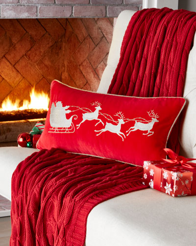 Red Velvet Pillow, Santa Sleigh
