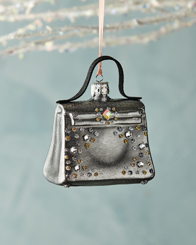 Gray Handbag with Faux Jewels Ornament