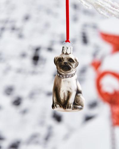 Pug with Rhinestone Collar Ornament