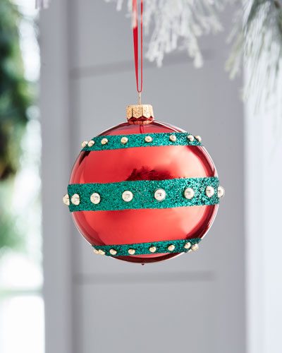 Red & Green Collection Shiny Glitter Ornament