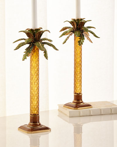 Palm Tree Jeweled Glass Candlestick