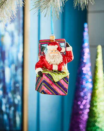 Playful Brights Collection Santa in Box Ornament