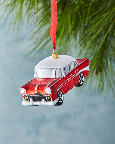 Retro Car with 2017 License Plate Ornament