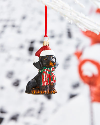 Dachshund in Plaid Scarf Ornament