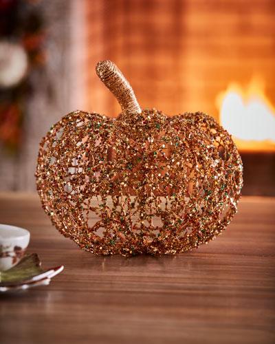 Beaded Twine Pumpkin, 12