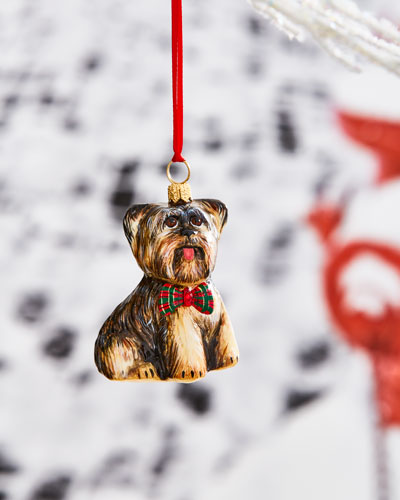 Yorkshire Terrier with Tartan Plaid Bowtie Ornament