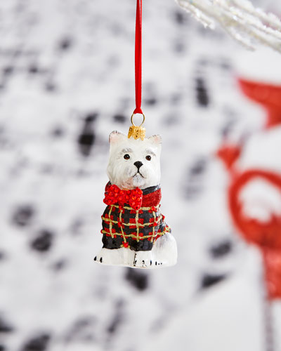 Westie in Tartan Plaid Coat Ornament