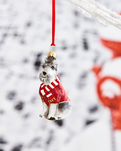 Gray Schnauzer in Red Sweater Ornament