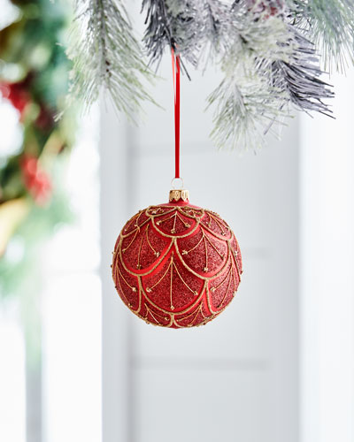 Red & Green Collection Matte Red/Scallops Ornament