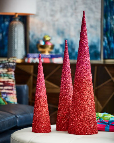 Playful Brights Collection Pink/Red Glitter Christmas Trees, Set of 3