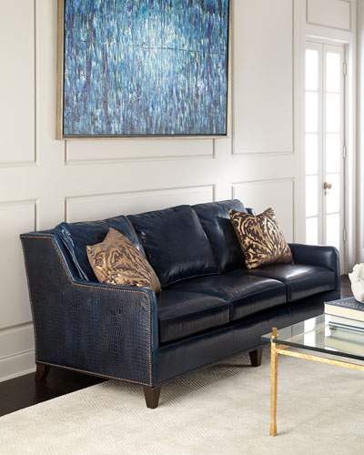 Nailhead Trim Leather Sofa | horchow.com