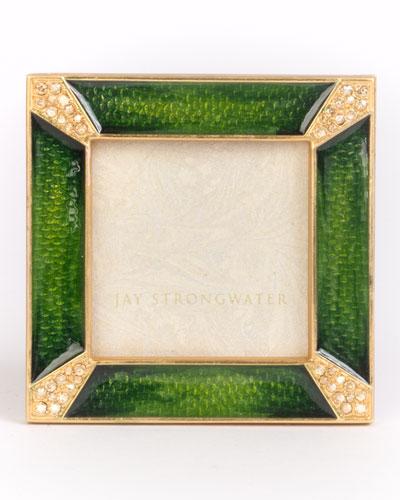 Leland Pave Corner Square Frame, Emerald