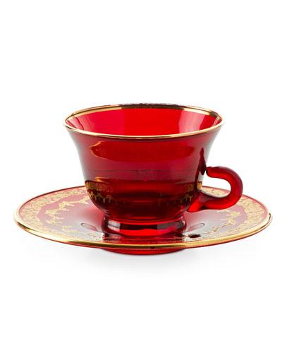 Gold-Finish Tea Cup & Large Saucer, Set of 4