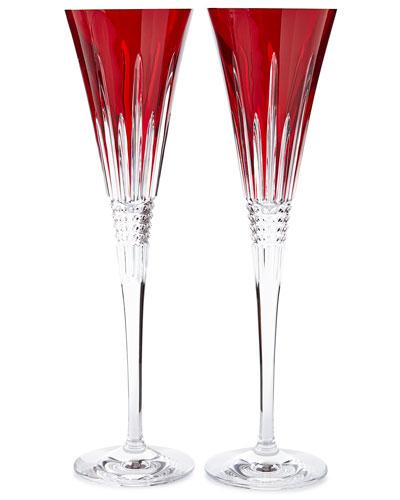 Lismore Diamond Toasting Flutes, Red, Set of 2