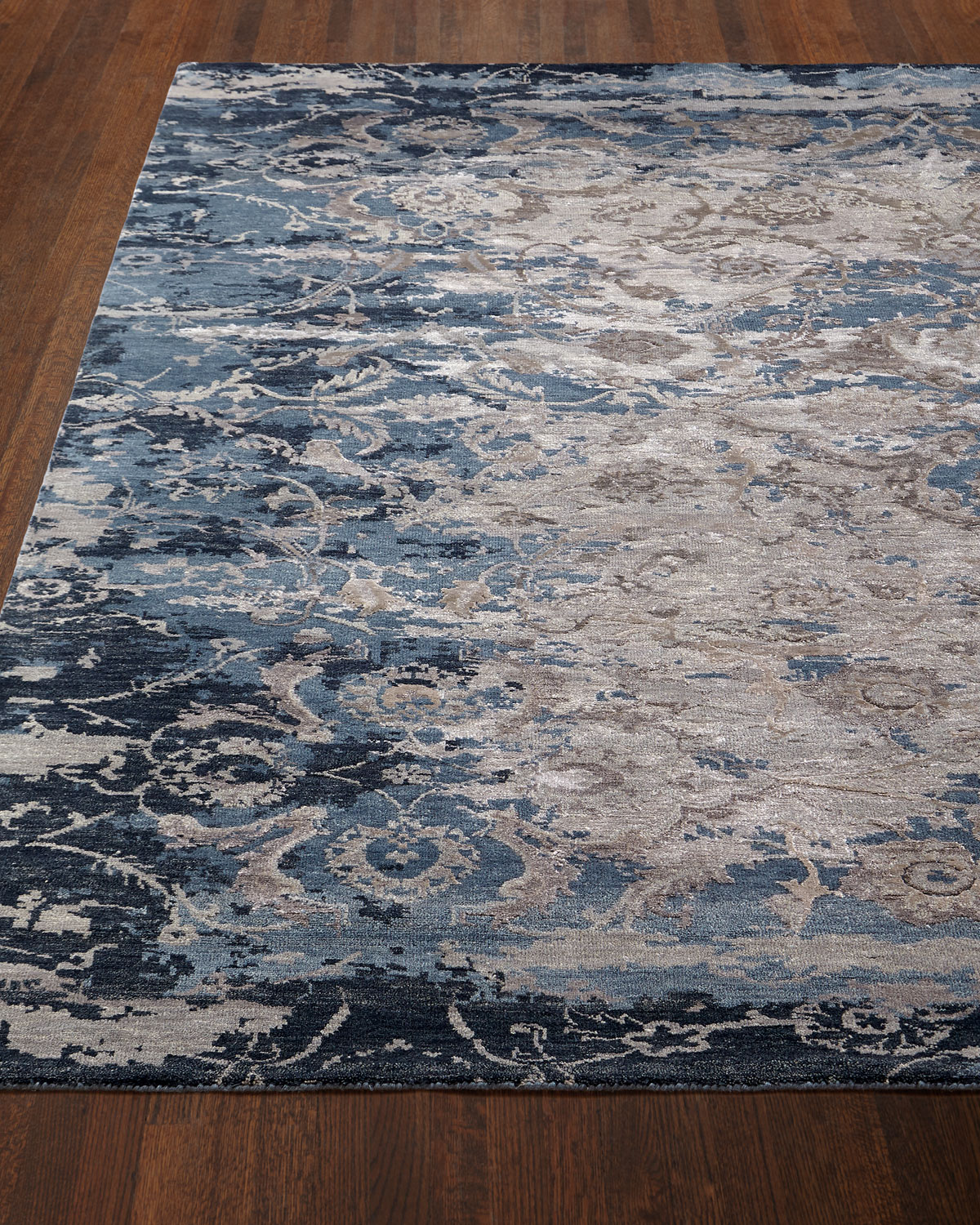 Deep Horizon Hand-Knotted Runner, 2'6in x 10'