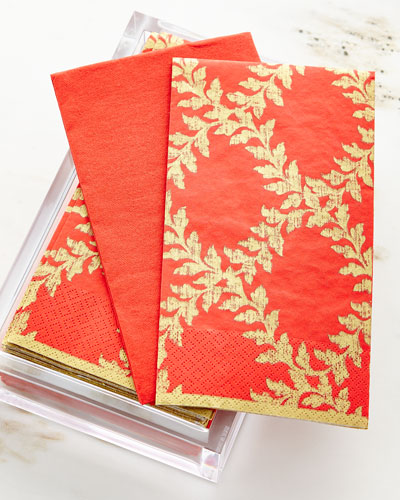 30 Guest Towels in Acrylic Holder - Acanthus Red Trellis