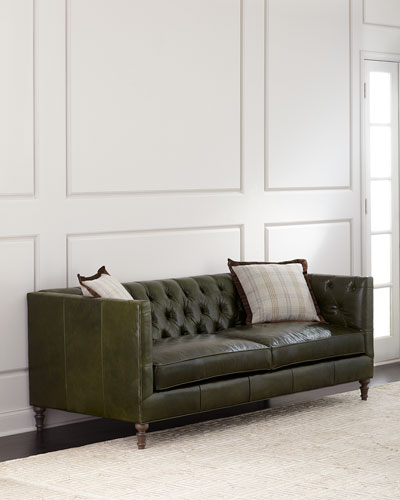 Leather Tufted Sofa | horchow.com